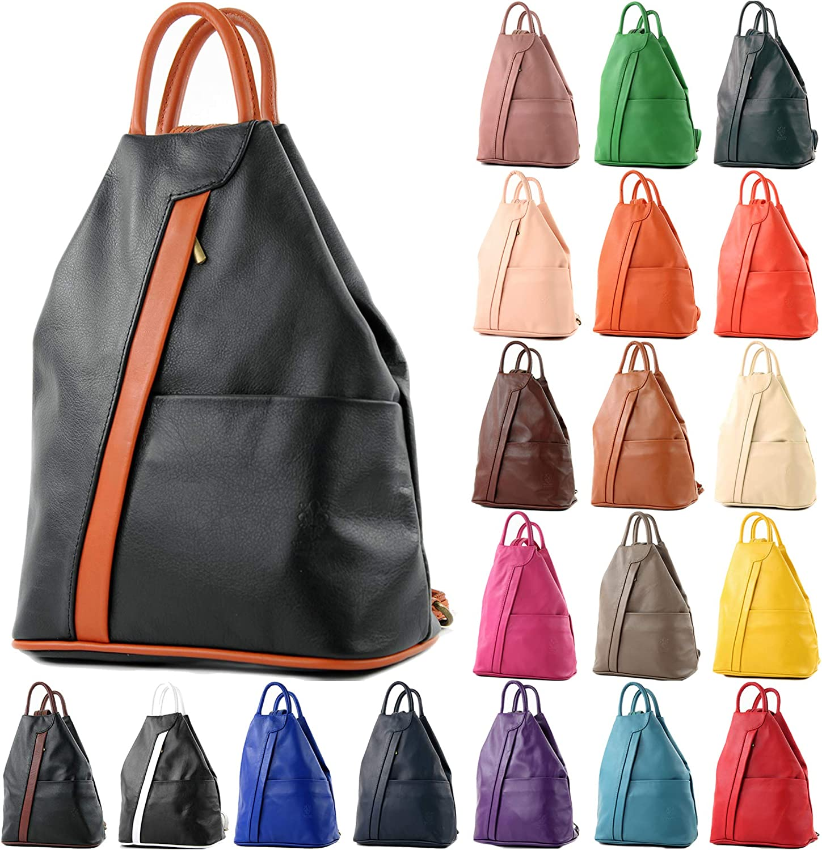 modamoda de - T180 - ital Ladies backpack bag nappa leather, Colour:Dark Chocolate Royal Blue