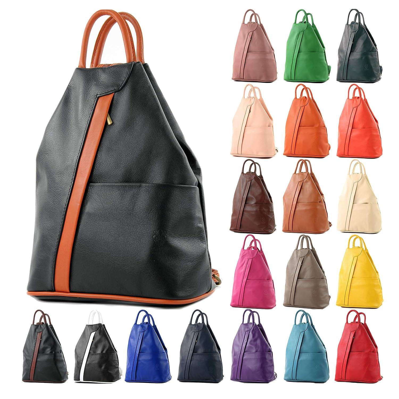 modamoda de – T180 – ital dam ryggsäck väska nappaleder Bladgrön