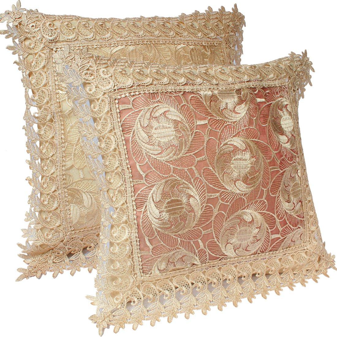 kilofly Decorative Vintage Lace Cushion Cover Pillow Case 15 x 15, Set of 2 5951146