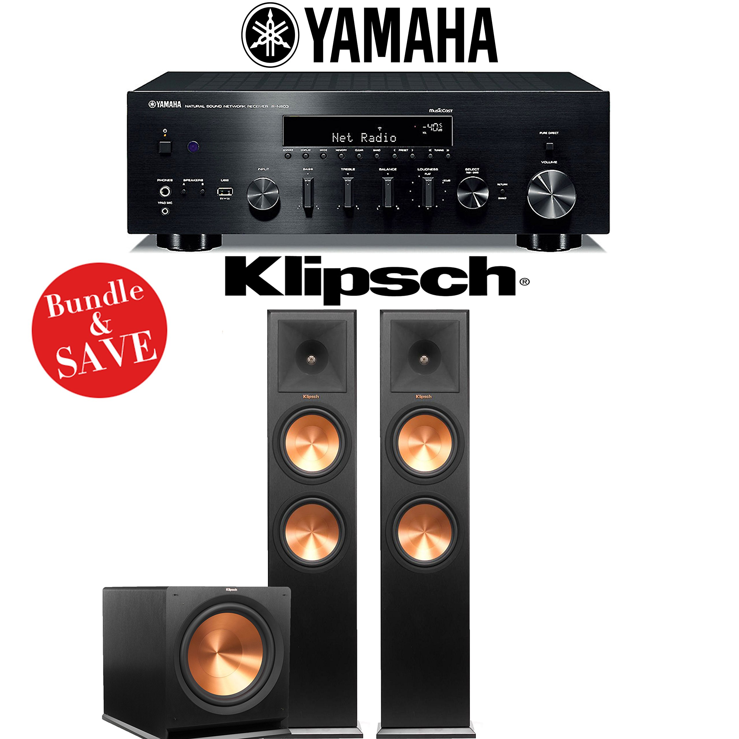 Yamaha R-N803BL Network Stereo A/V Receiver + Klipsch RP-280F + Klipsch R-115SW - 2.1-Ch Home Theater Package by Klipsch