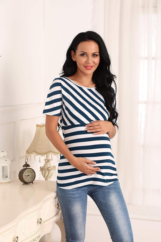 Giorzio Women Maternity Nursing Tee Shirt Short Sleeve Double Layer Breastfeeding Tops S-XXL Blue,XXL