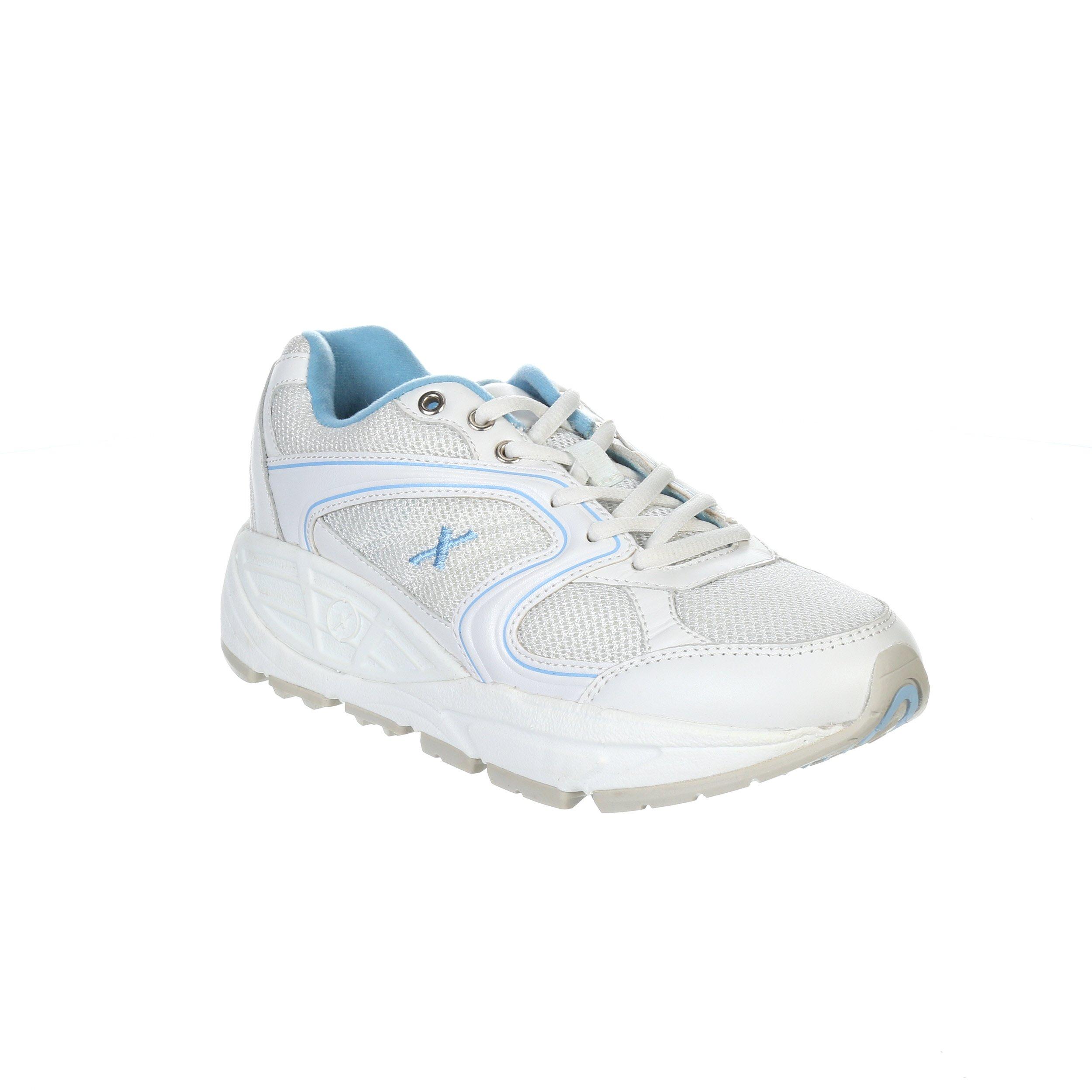 Xelero Matrix II Women's Comfort Therapeutic Extra Depth Sneaker Shoe: White/Blue 8.5 Wide (D) Lace