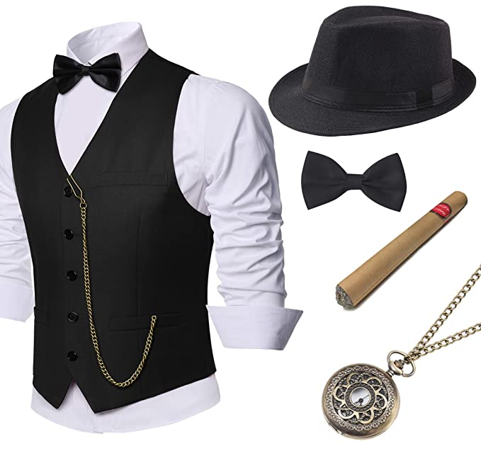 1920s Men's Costumes: Gatsby, Gangster, Peaky Blinders, Mobster, Mafia BABEYOND 1920s Mens Gatsby Gangster Vest Costume Accessories Set Fedora Hat $41.99 AT vintagedancer.com