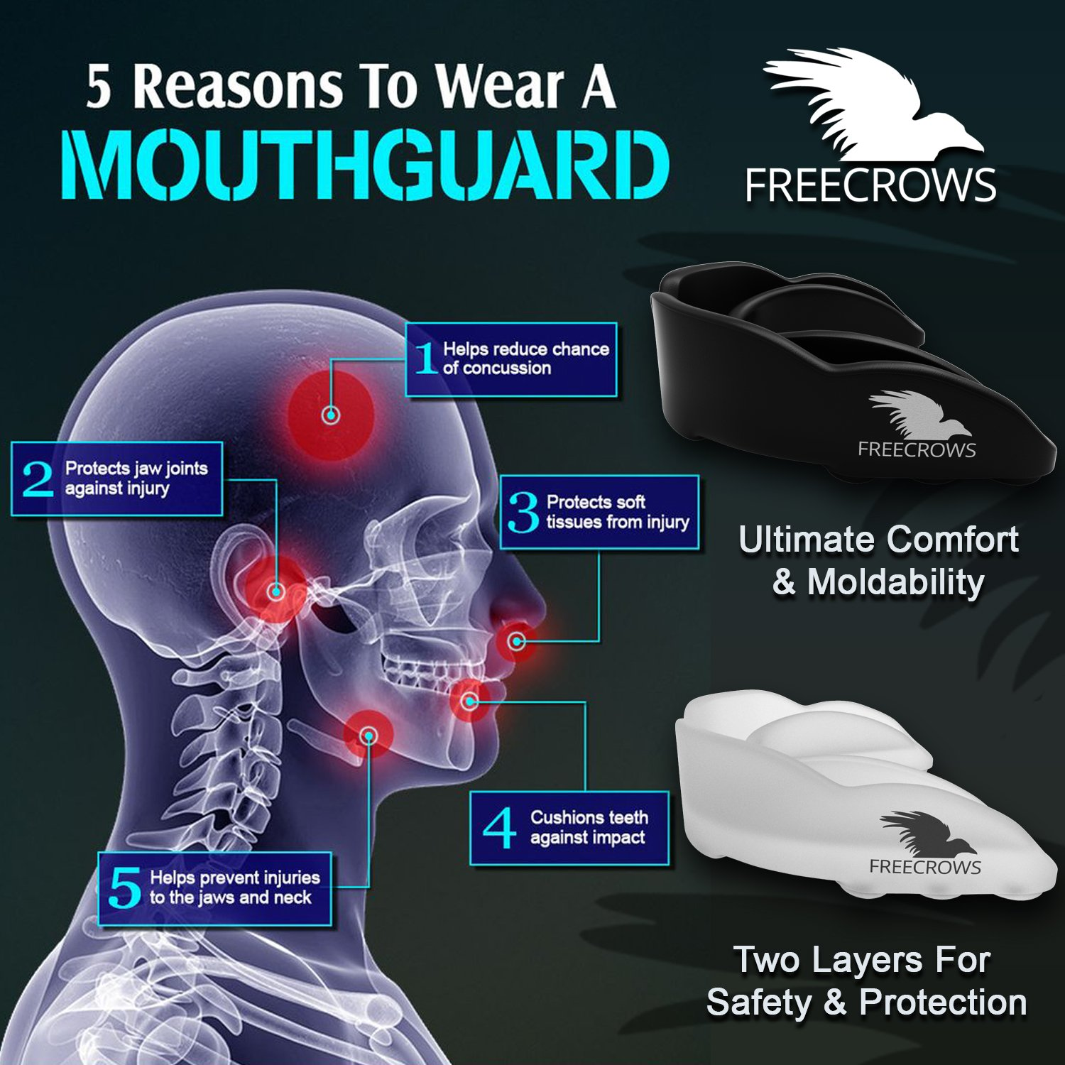 MMA Mouthguard / Adult Mouth Guard - 2x Gum Shield Teeth Protection for all Contact Sports and Game - UFC , Boxing , Taekwondo , Martial Arts , etc.- Two Mouthguards for Women and Men by Freecrows by FREECROWS (Image #3)
