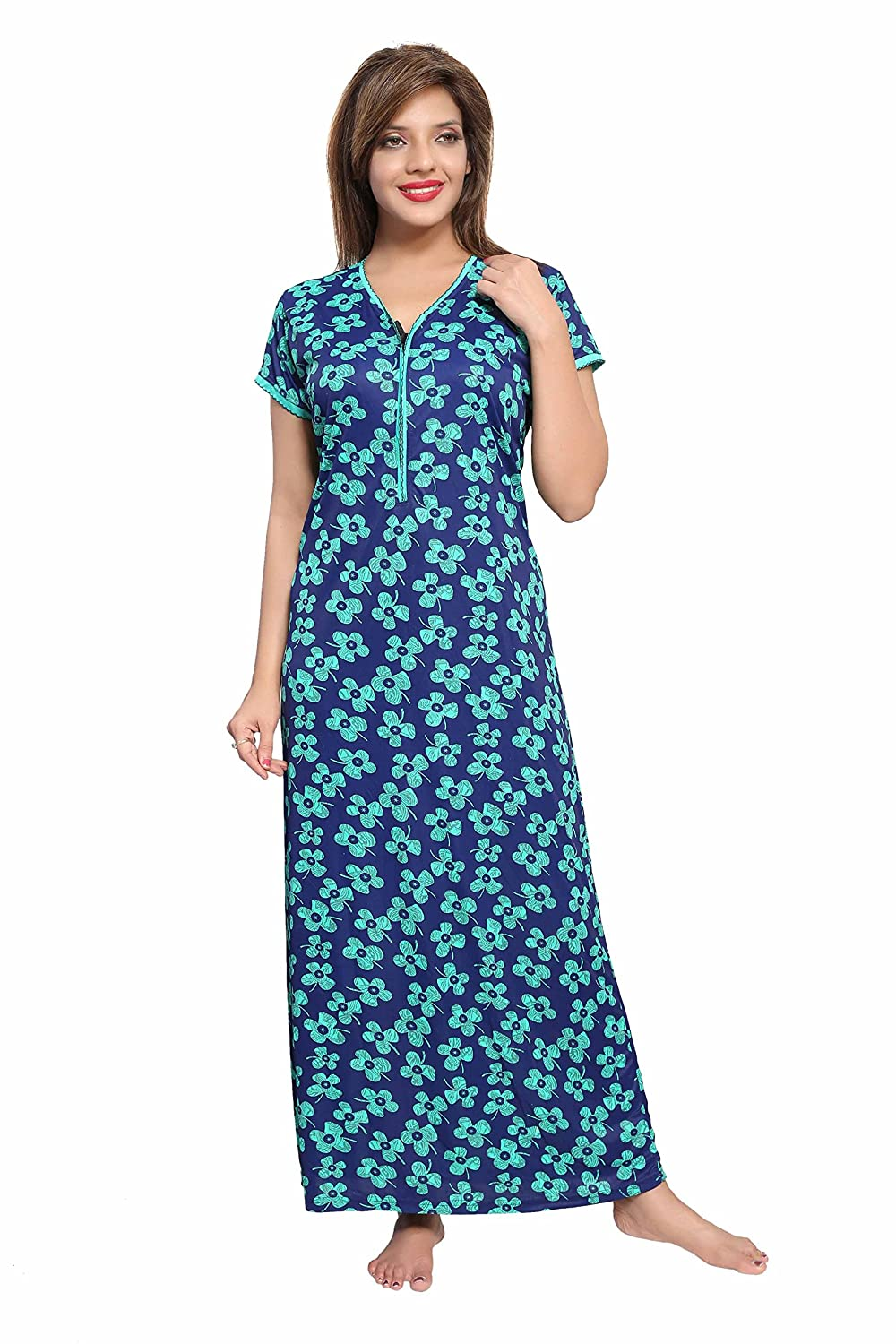 soulemo beautiul print nighty night gown nightwear nightdress feeding nighty  with (pocket 7eda1f2a1