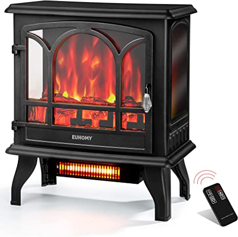 Euhomy Electric Fireplace Heater With Remote Control 23 Indoor Freestanding Fireplace Stove With Realistic Flame Effect 1400w Space Heater Overheat Auto Shut Off Safety Function Csa Certified Kitchen Dining