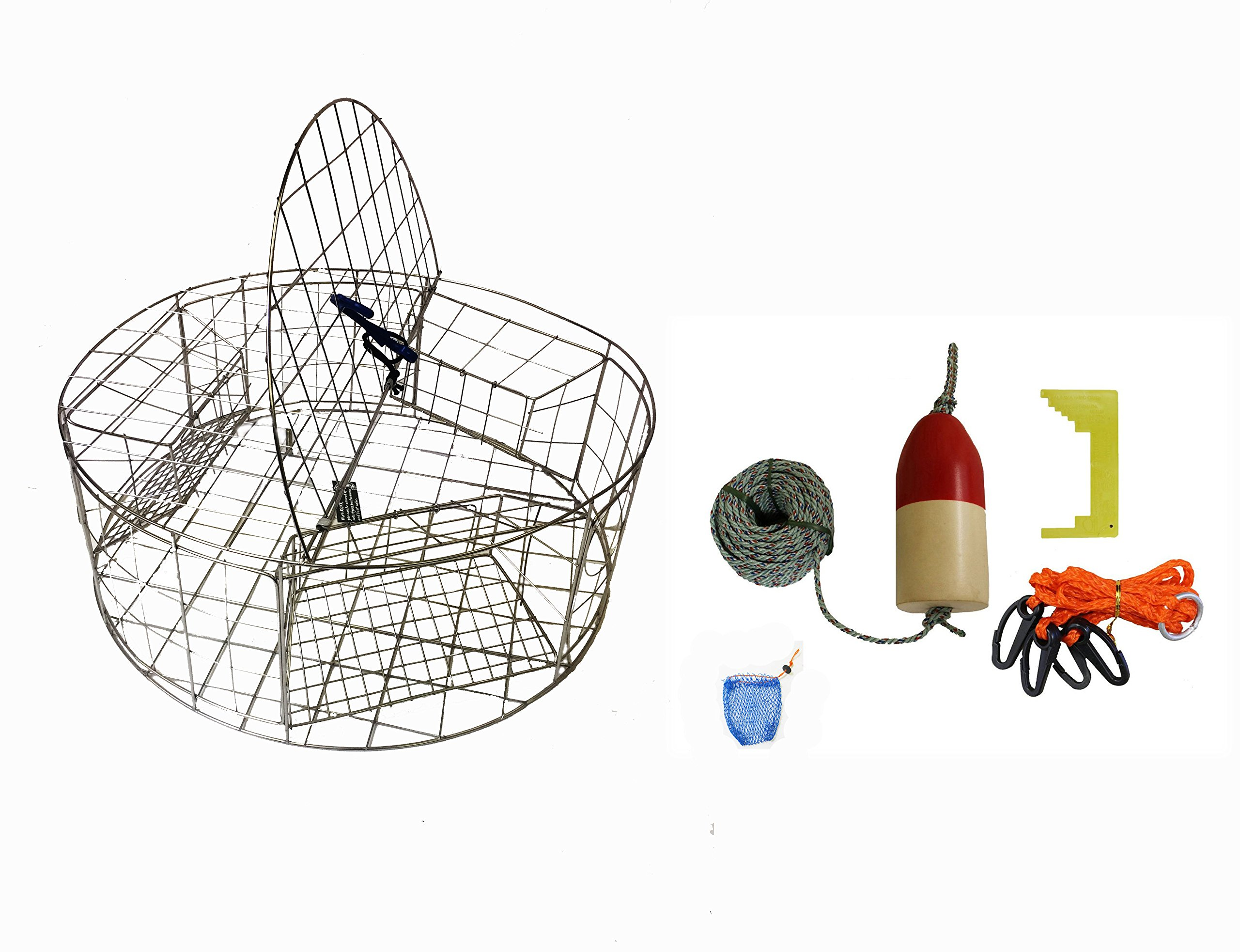 KUFA Stainless Steel Round Crab Trap with sacrificial anode Zinc & 1/4 x100' leaded rope,14'' Red/White float,Harness,Caliper,Bait Bag Combo (CT120+CAQ3+ZIN1)