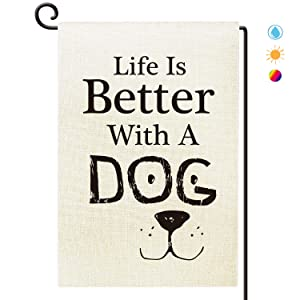 Agantree Art Life is Better with a Dog Garden Flag Waterproof Double Sided Yard Outdoor Decorative 12 x 18 Inch