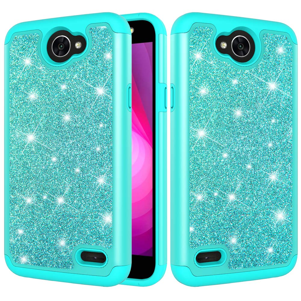 DAMONDY LG X Charge Case,LG Fiesta 2,LG Xpower 2 Case, 2 in 1 Drop Protection Bling Glitter Hybrid Heavy Duty Shock Dual Layer Armor Defender Protective Case Cover Fit for LG LV7-green
