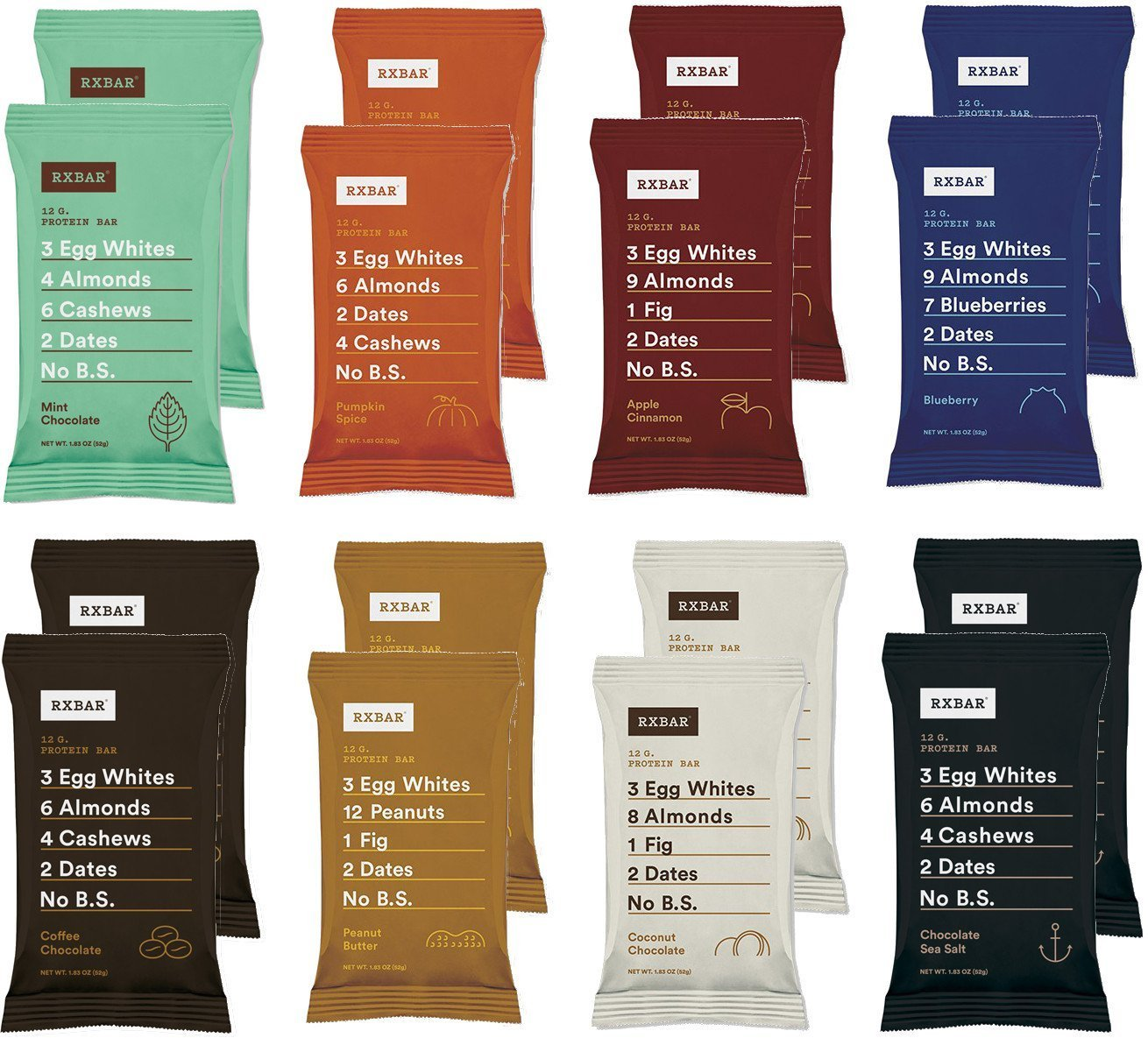 RXBAR Whole Food Protein Bars 8 Flavor Variety Pack, 1.83 Ounce (Pack of 16)