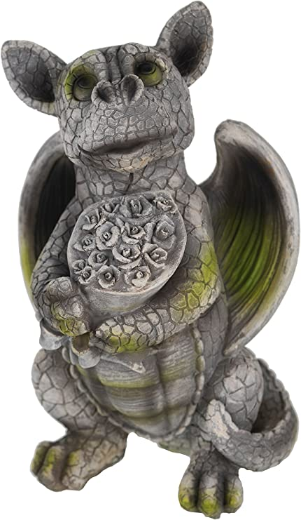 Dragon Enfant avec bouquet de fleurs Figurine Statue pour jardin fleurs: Amazon.es: Jardín