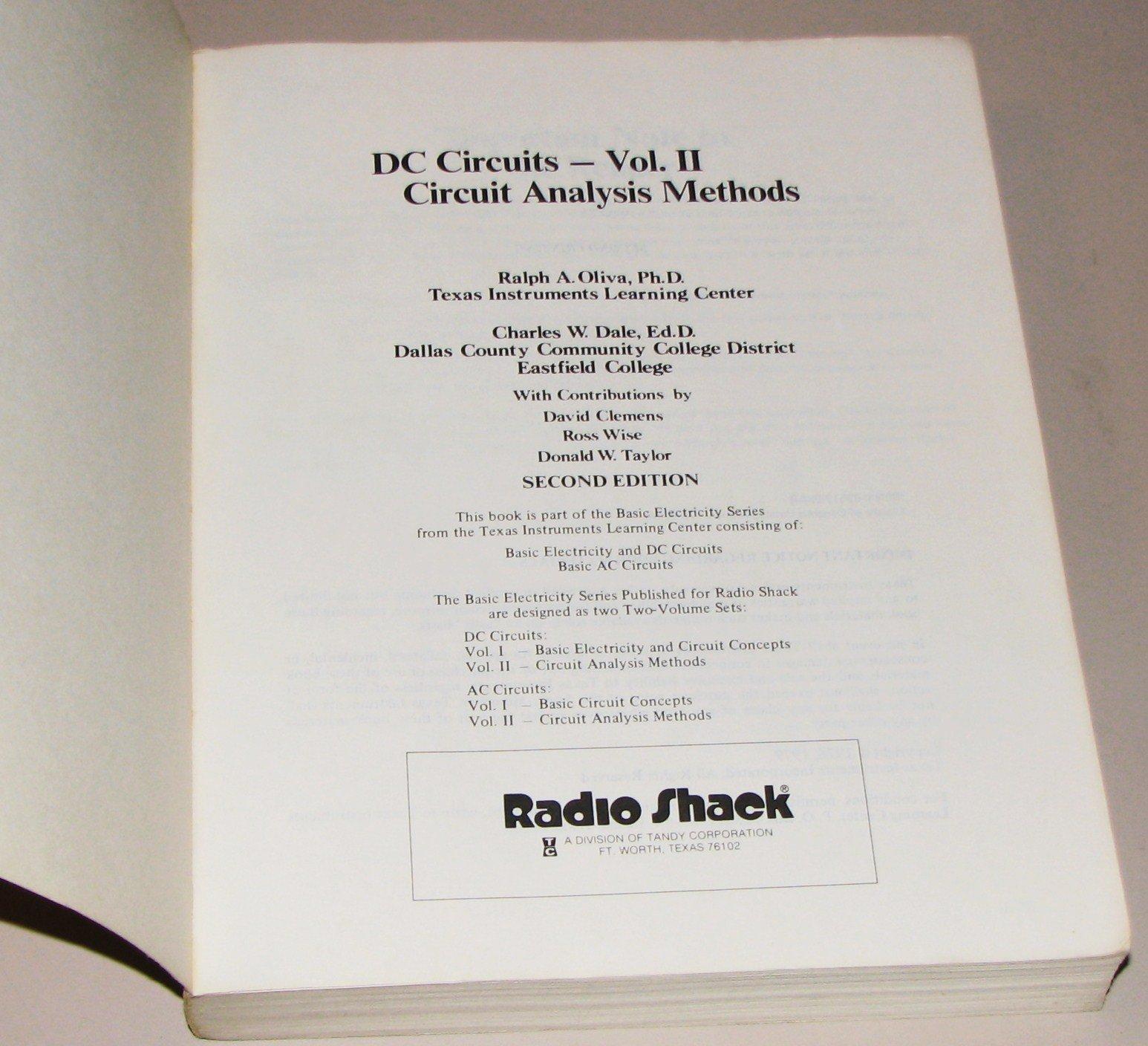 Dc Circuits Vol Ii Circuit Analysis Methods Ralpha Oliva Amazon 2 Books