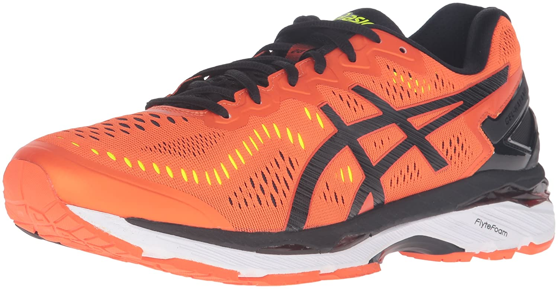 Flame Orange noir Safety jaune ASICS Gel-Kayano 23, Chaussures de Running Homme 7.5 US