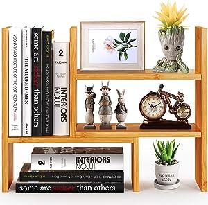 Pipishell Bamboo Desktop Bookshelf Organizer, Office Desk Storage Shelf Rack, Natural Wood Adjustable Tabletop Display Corner Countertop Bookcase Shelves for Office Supplies, Home Decor, Kitchen