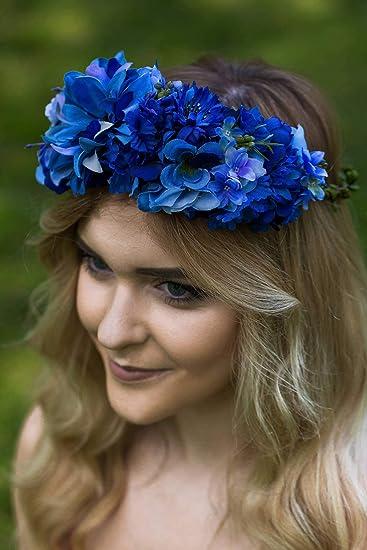 Amazon.com   Blue Flower Crown 7858580eedb
