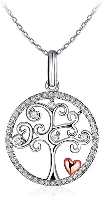 """Silver Necklace for Women 925 Sterling Silver 3A Cubic Zirconia Pendent Necklace J.Rosée Fine Jewelry Gift Packed """"Tree of Life"""""""