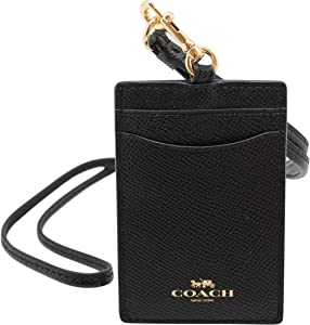Coach ID Lanyard Badge Holder In Crossgrain Leather (Black/Gold)