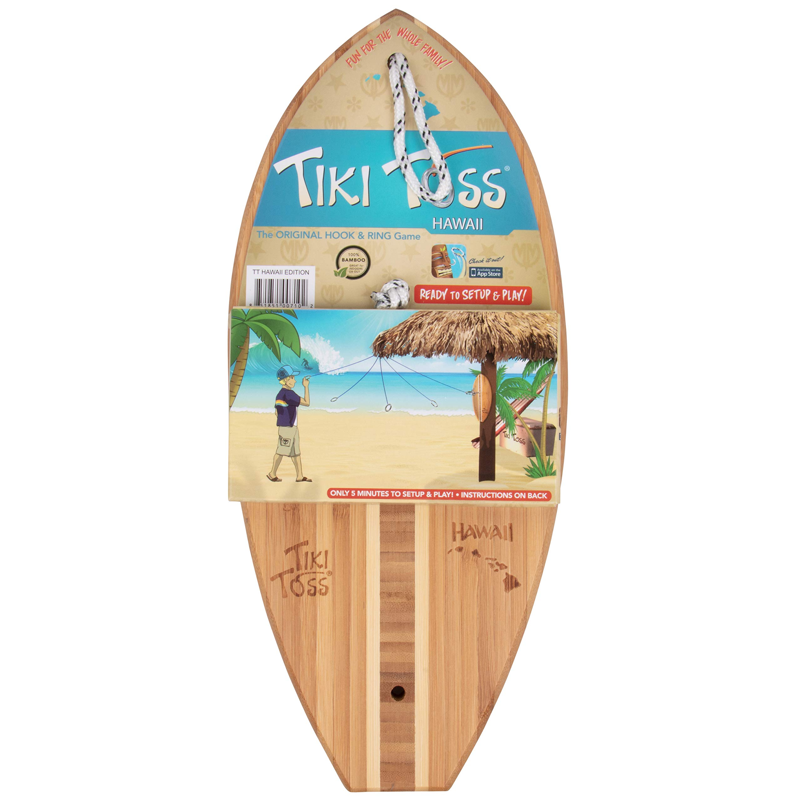 Tiki Toss Hook and Ring Toss Game - 100% Bamboo Only 5 Minutes to Setup - All Parts Included (Hawaiian Edition) Assorted by Tiki Toss (Image #4)