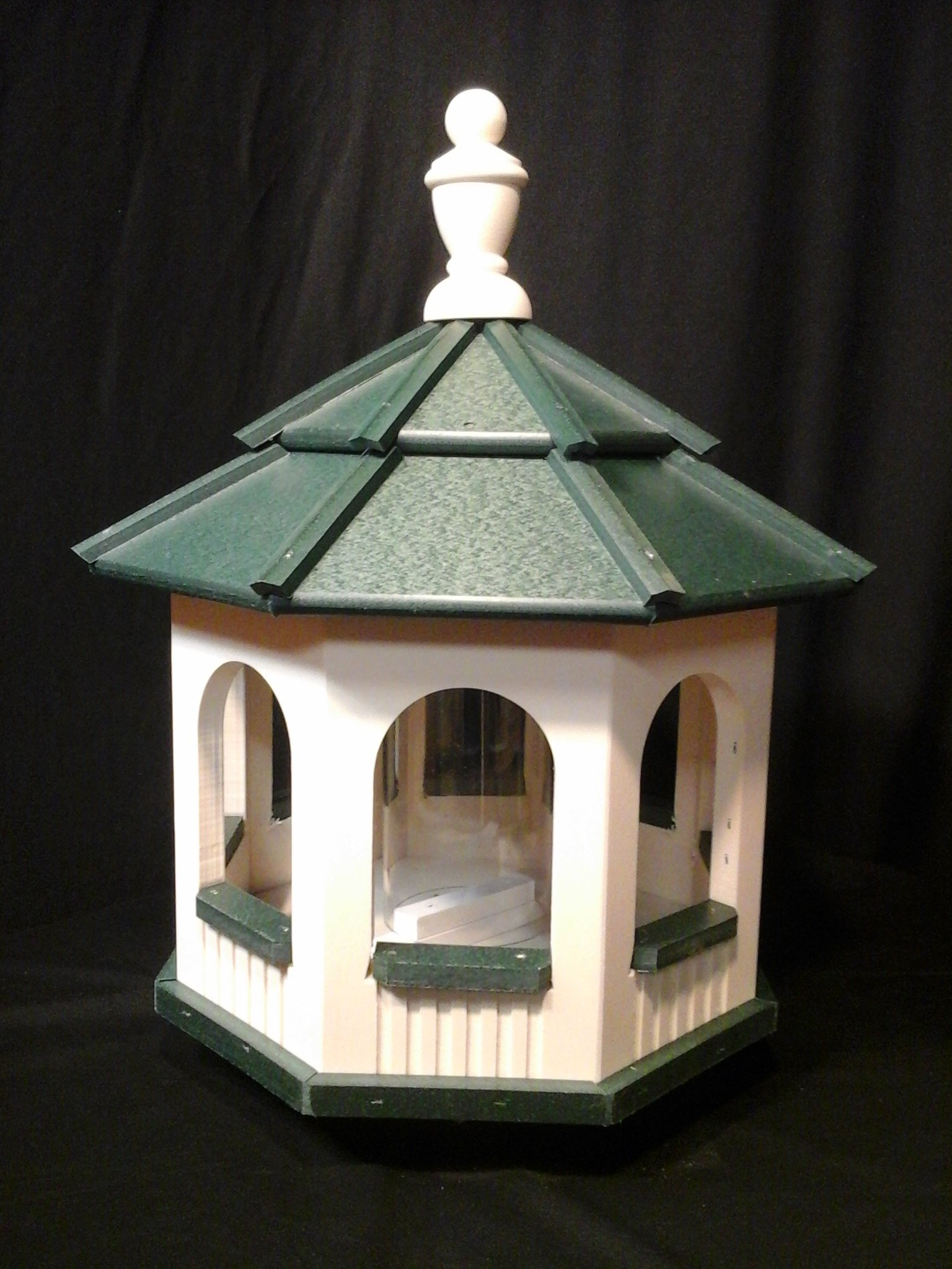 Medium Vinyl Gazebo Bird Feeder Amish Homemade Handmade Handcrafted Ivory & Green