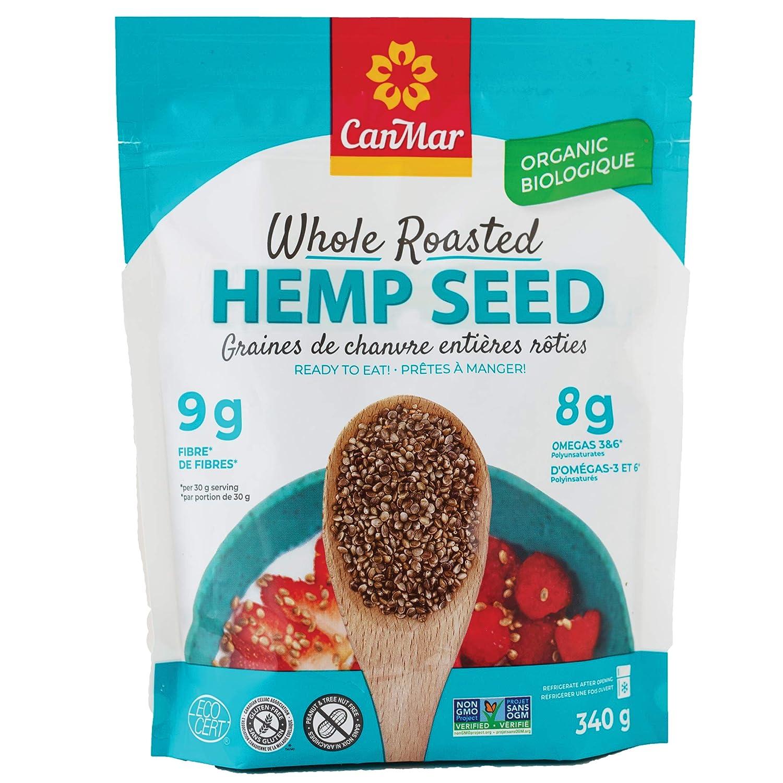 CanMar Organic Hemp Seed (12oz/340g) | Whole Roasted Hemp Seeds | Ready to Eat - Great Taste & Aroma | Ideal Plant Based Protein Source | Omega-3, Omega-6, GLA | Fiber, Gluten-Free, Nut-Free