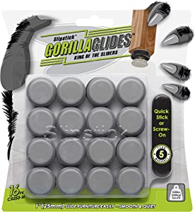 GorillaGlides 1 Inch Chair Sliders/Floor Protectors (16 Furniture Glides) Screw-On or Self-Adhesive, for Sliding on Carpet & Hard Surface Floors, Round, CB253-16
