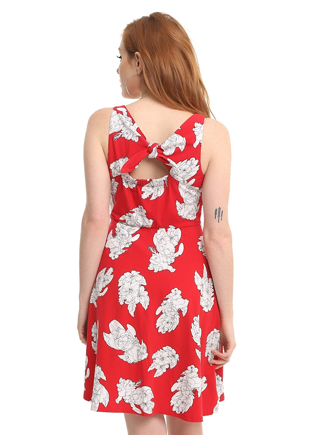 8b2f77e37f Lilo   Stitch Disney Lilo Dress Red White Floral Hawaiian Fit   Flare Style  at Amazon Women s Clothing store