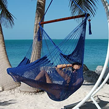 large caribbean hammock chair   48 inch   polyester   hanging chair   dark blue amazon    large caribbean hammock chair   48 inch   polyester      rh   amazon