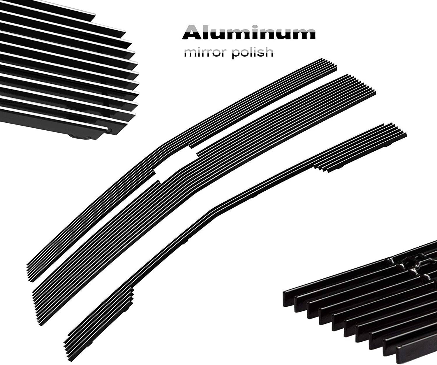 3pcs Silver Billet Grille Grill COMBO Grill Insert Fits 2014-2015 Chevy Silverado 1500