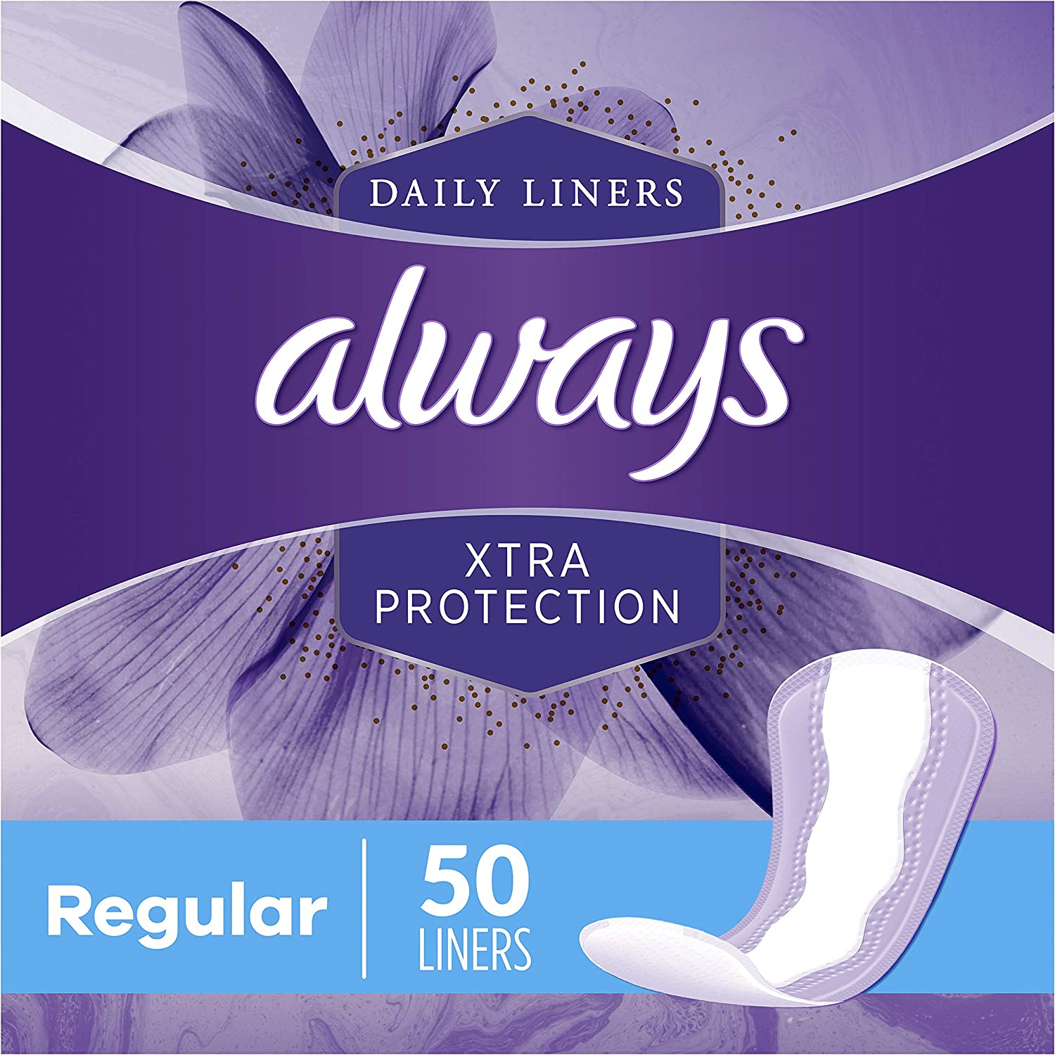 Always Xtra Protection Daily Feminine Panty Liners for Women, 300 Count, Regular, 50 Count - Pack of 6 (300 Total Count): Health & Personal Care