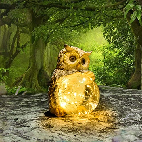 COTYNI Owl Garden Lights Handcrafted LED Solar Decorative Lights Perfect Garden Statue