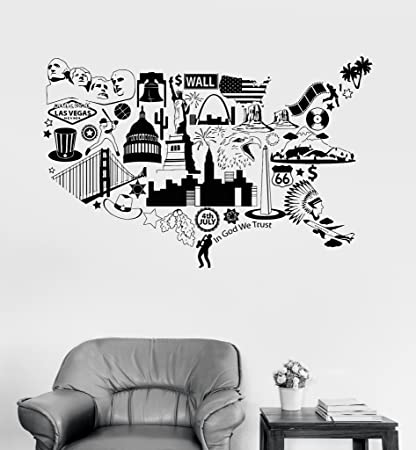 large vinyl wall decal usa map united states symbol room decor stickers ig3341 dark