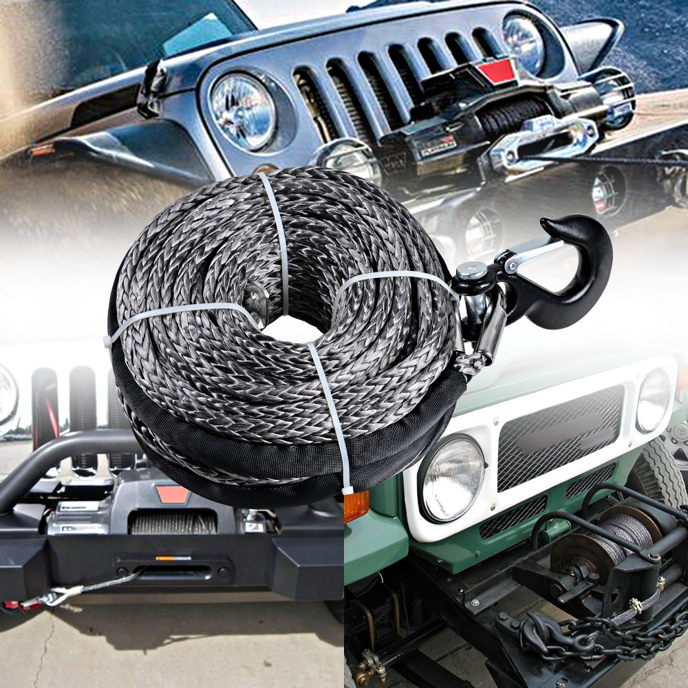 95 x 3//8 20000LBs Synthetic Winch Rope Line Cable for SUV ATV UTV Jeep Truck Black Winch with Red Hook