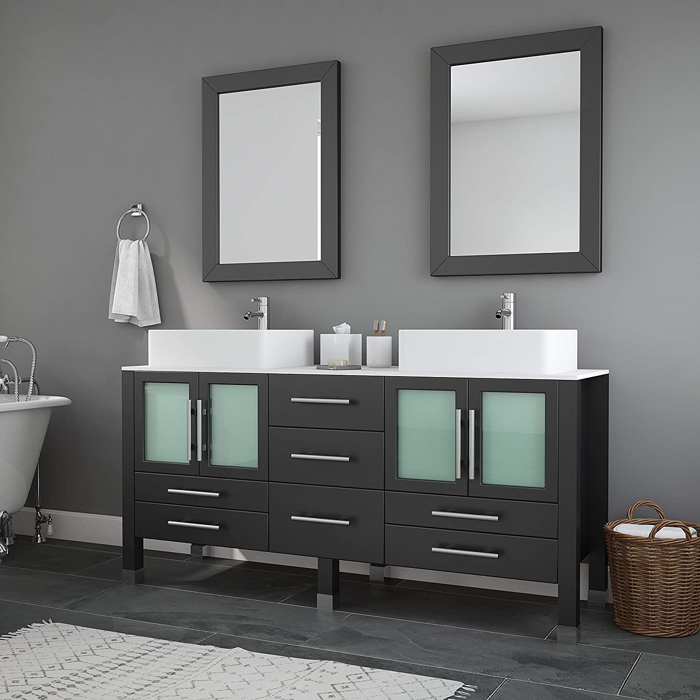 63 Inch Wood Porcelain Double Sink Bathroom Vanity Set- Moniteau Chrome Faucets