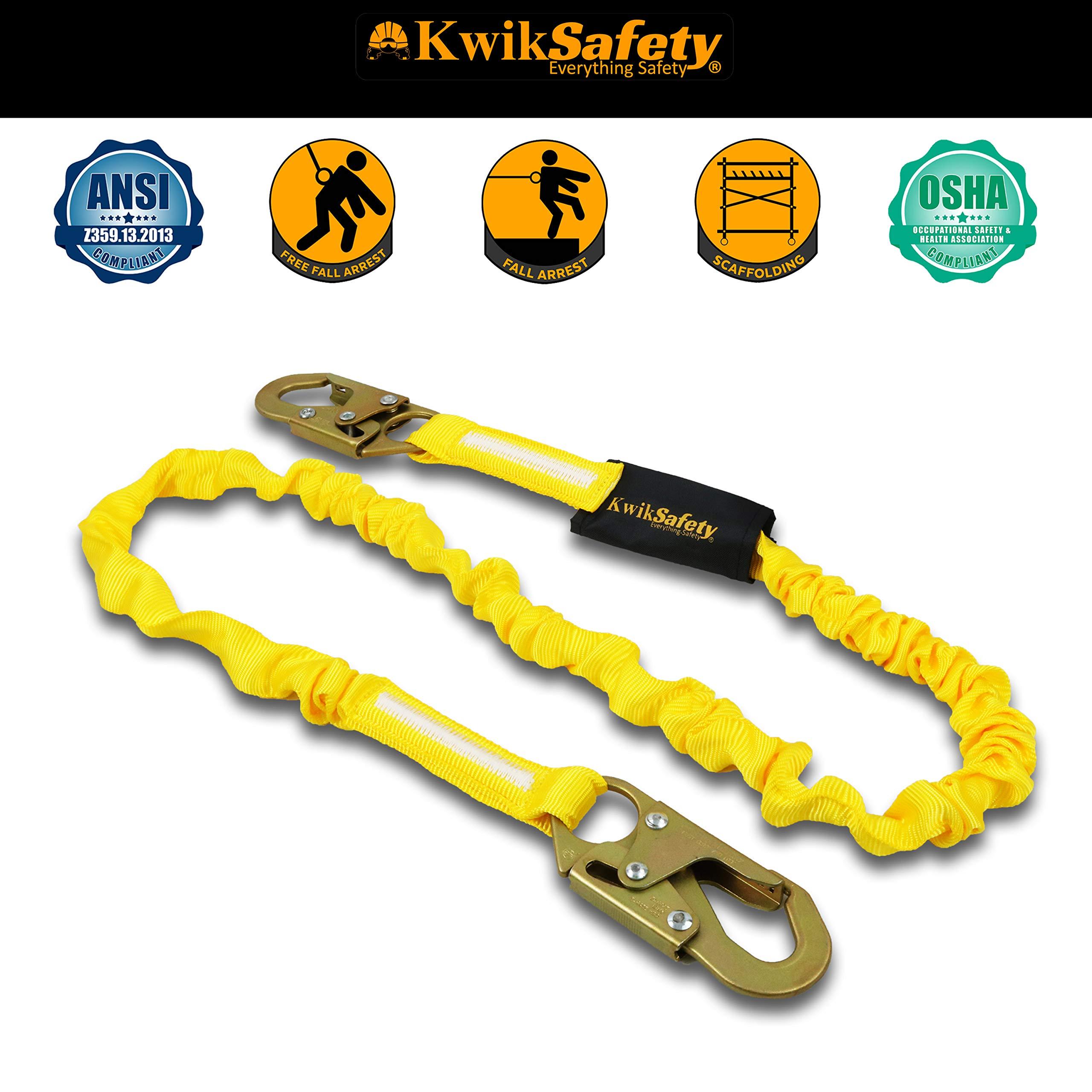 KwikSafety (Charlotte, NC) RATTLER 2 PACK (Internal Shock Absorber) Single Leg 6ft Safety Lanyard, Tool Lanyard OSHA ANSI Fall Protection Equipment Snap Hooks Construction Arborist Roofing by KwikSafety (Image #3)