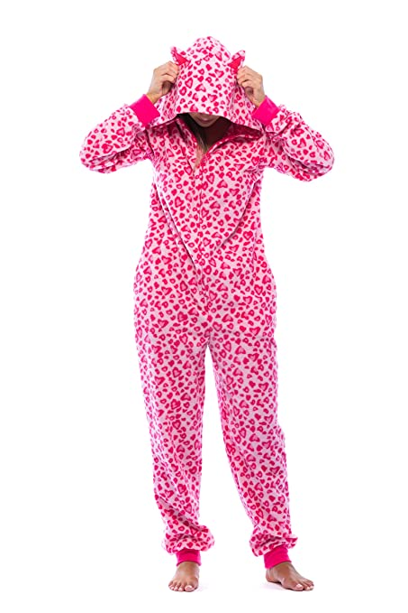 431ff369a5 Amazon Adult Onesie with Animal Prints Pajamas One Piece with Hood Pink  Leopard Cheetah Cute Cat