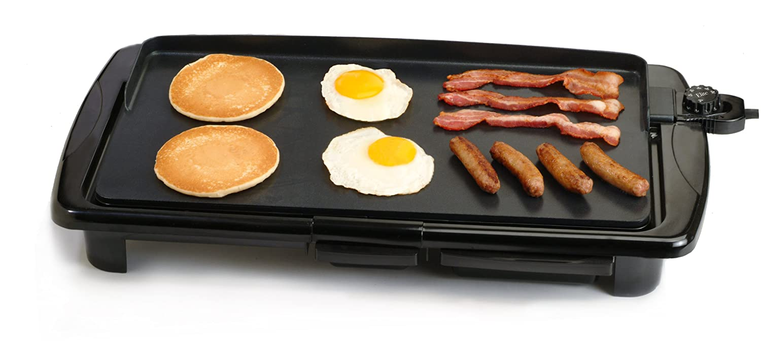Maxi-Matic EGR-2010 Elite Gourmet 20-by-10-Inch Non-Stick Electric Griddle with Grease Tray, Black