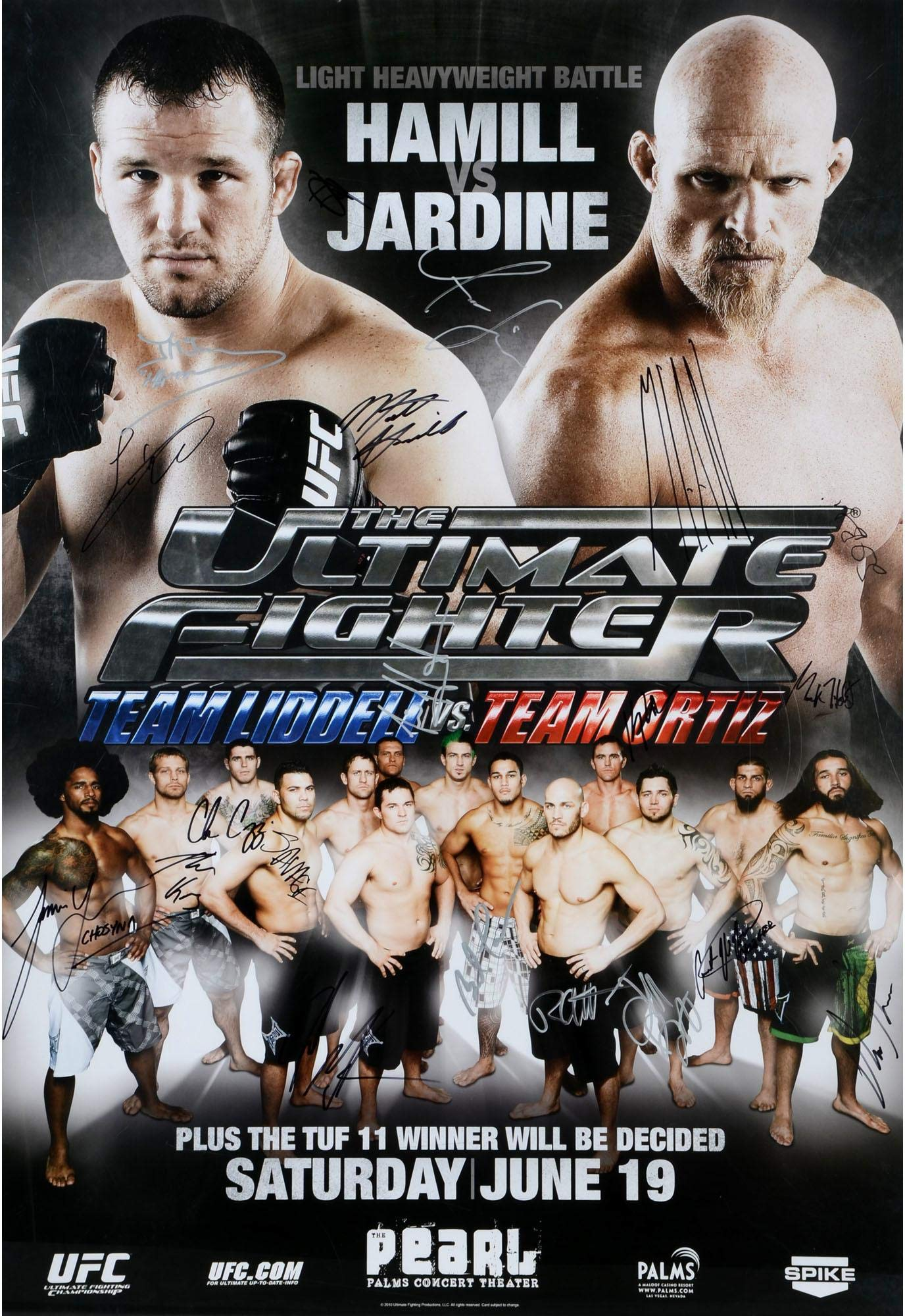 """The Ultimate Fighter Season 11 Team Liddell vs. Team Ortiz Finale McGee vs. McCray Autographed 27"""" x 39"""" 20 Signature Fight Poster Fanatics Authentic Certified"""