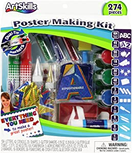 ArtSkills Poster Making Kit Arts and Crafts Supplies Includes Washable Markers, Stencils, Letters, Glitter, Glue, and More, 274 Pieces