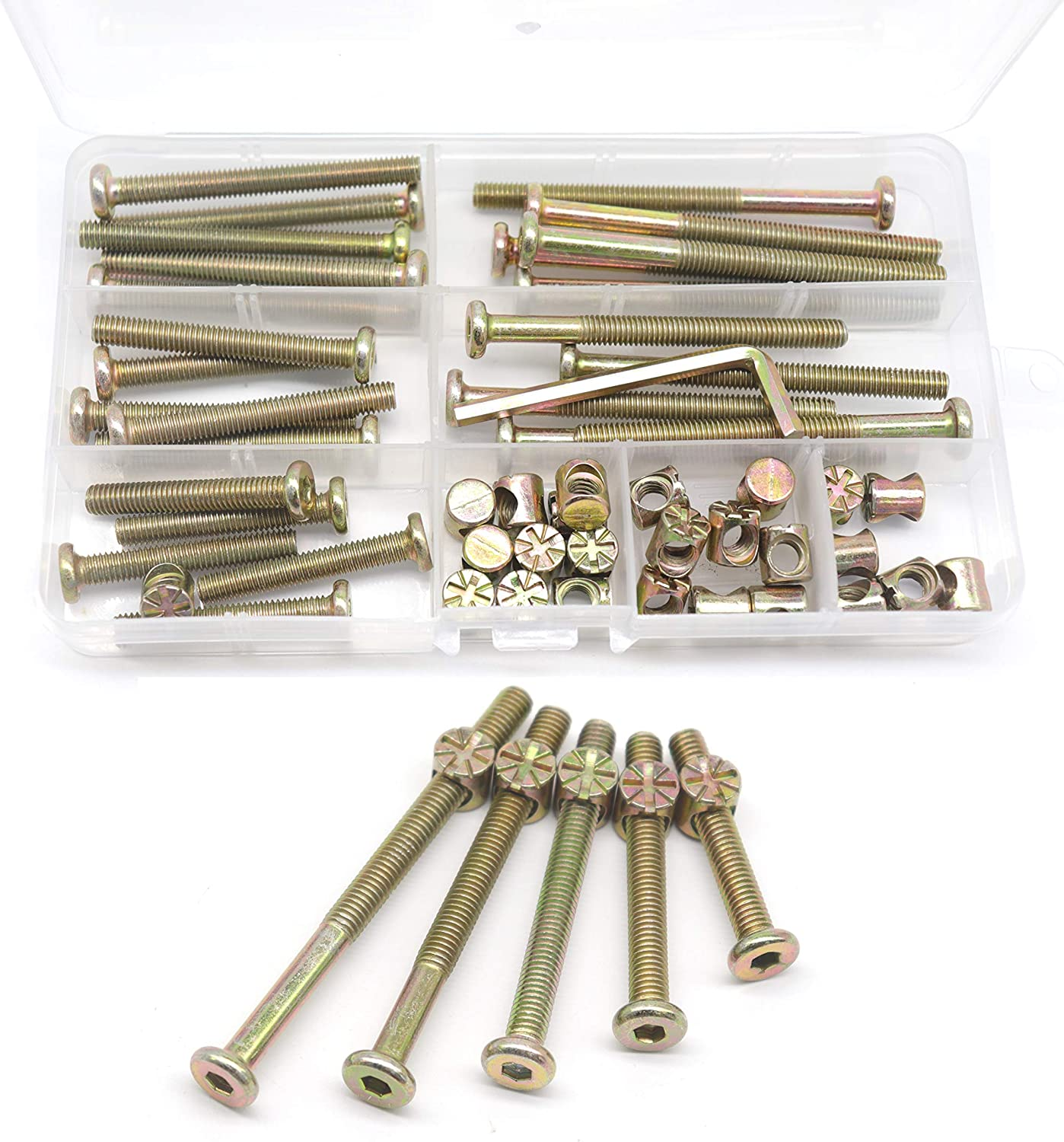 Crib Screws Cots Nicked Plated M6 /× 40//50//60//70//80mm Hex Socket Head Cap Crib Baby Bed Bolt and Barrel Nuts with 1 x Allen Wrench Perfect for Furniture Swpeet 100Pcs Crib Hardware Screws