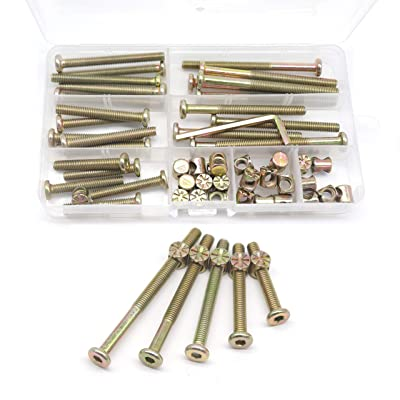 35-75mm Rustark 121 Pcs M6 Hex Socket Cap Bolts Barrel Nuts Assortment Kit 35mm 45mm 55mm 65mm 75mm Baby Bed Screws Hardware Replacement Kit with Free Hex Key for Furniture Cots Beds and Chairs