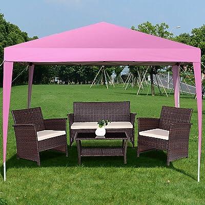 simplyUSAhello Outdoor Foldable Portable Shelter Gazebo Canopy Tent (Pink) : Garden & Outdoor