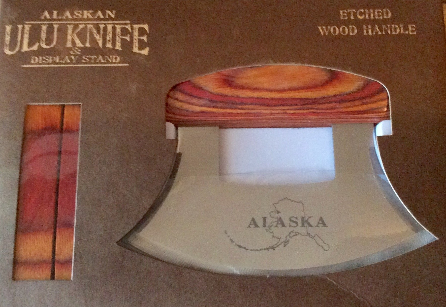 Alaska Ulu Knife Natural Exotic Wood Stand Etched Blade by Arctic Circle (Image #6)