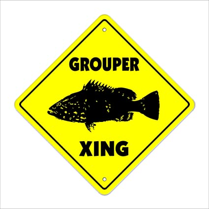 Amazon com: Grouper Crossing Sign Zone Xing | Indoor/Outdoor