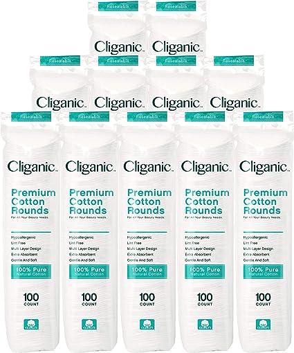 Amazon.com: Cliganic Premium algodón redondo | Almohadillas ...