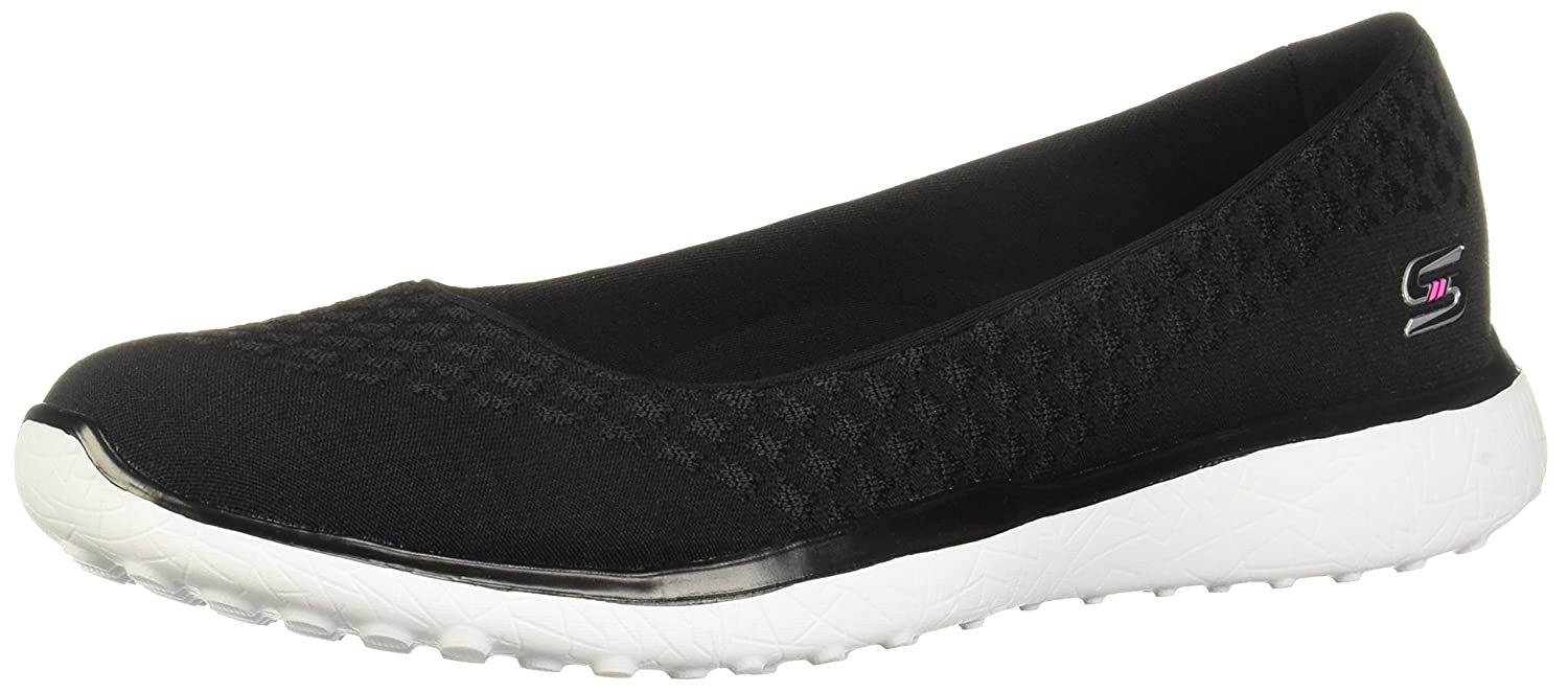 Black White Skechers Women's Sport-Active-Microburst-One-Up Soft Knit Skimmer shoes with Mf