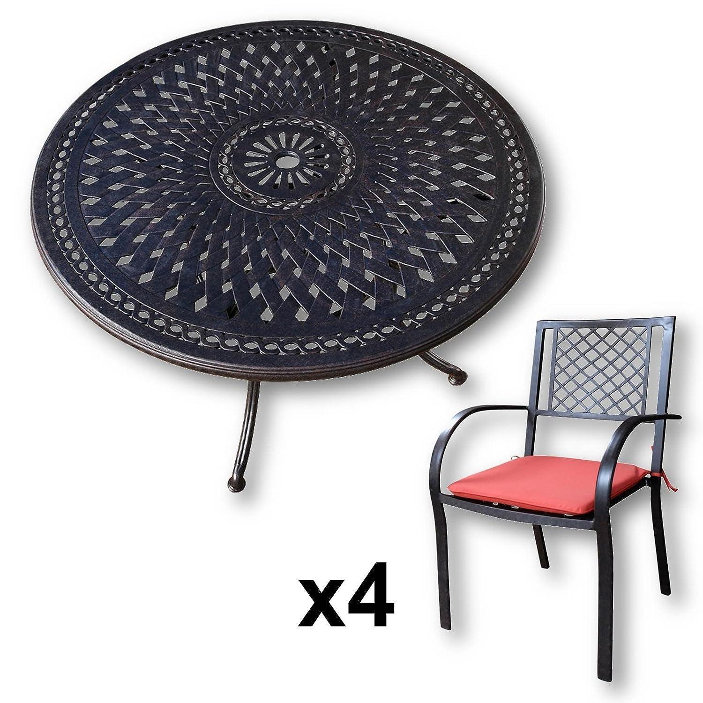Lazy Susan - ALICE 120 cm Runder Gartentisch mit 4 Stühlen ...