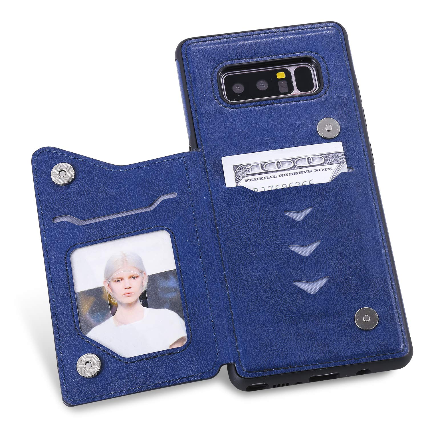 DAMONDY Wallet Case for Galaxy Note 8,Emboss Tree Cat Slim Protective Case with Credit Card Slot Holder Flip Folio Soft PU Leather Magnetic Closure Cover Case for Samsung Galaxy Note 8-Blue