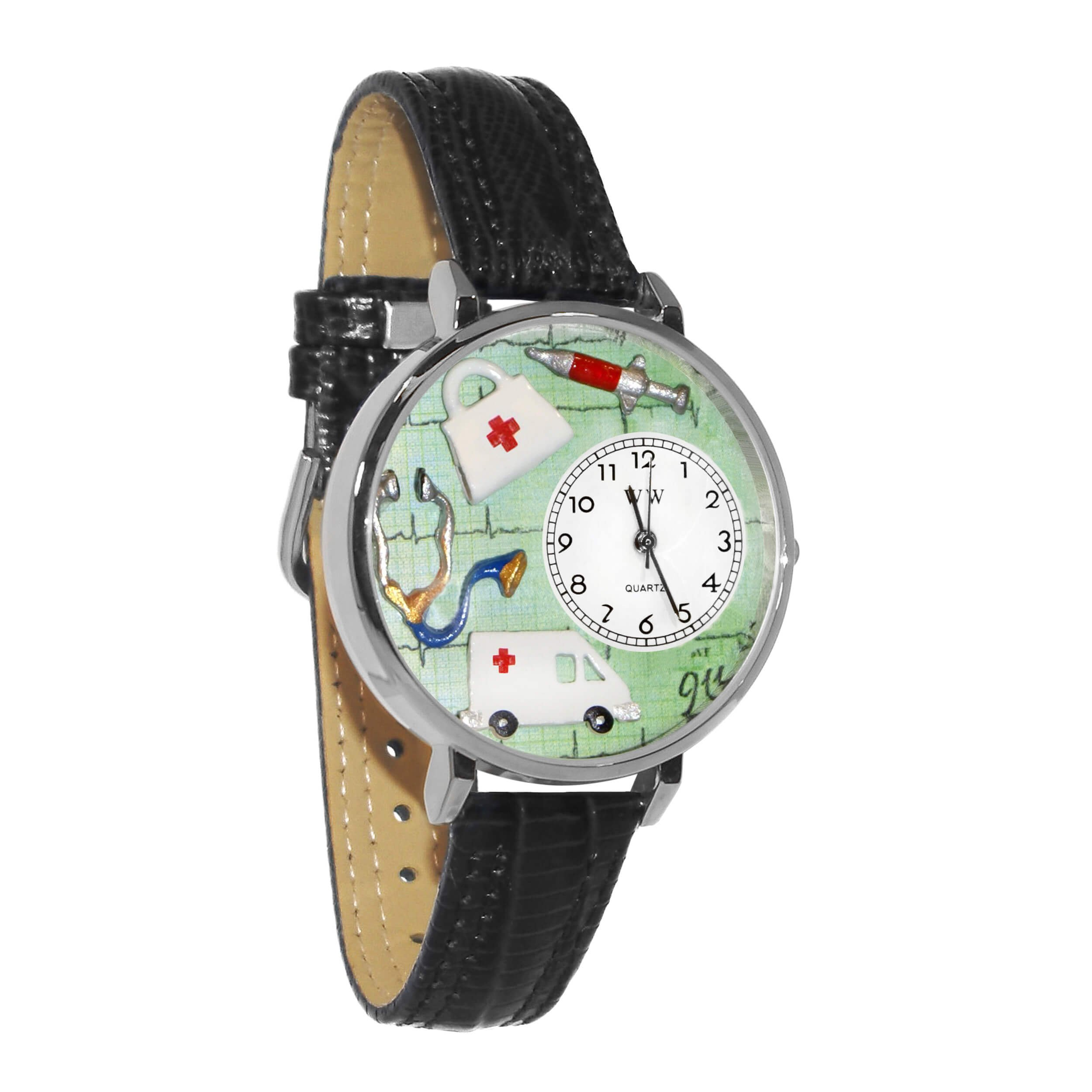 Whimsical Watches Unisex U0620024 EMT Navy Blue Leather Watch