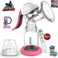 Trumom Manual Comfort Baby Breastmilk Breast Pump with Temperature Indicator Ring, Pink