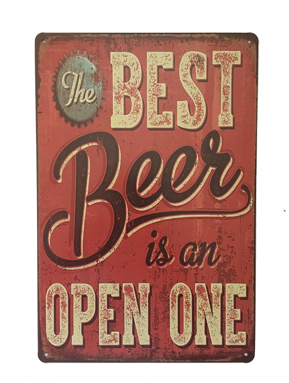 La migliore birra è aperto targa in metallo novità retro vintage Wall Plaque 20x 30cm targa decorativa–ideale per pub bar ufficio casa camera da letto sala da pranzo cucina–Cool Classic Gift shabby chic prese Tin sign